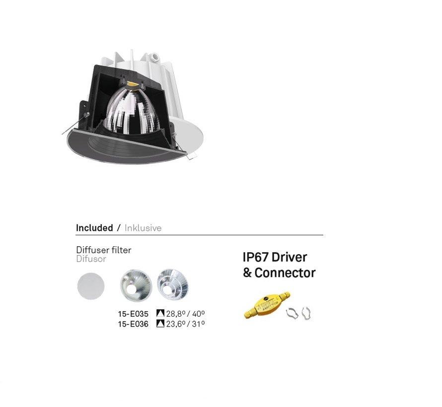 Dako Fixed IP65 recessed downlight 6,4 - 18Watt in black