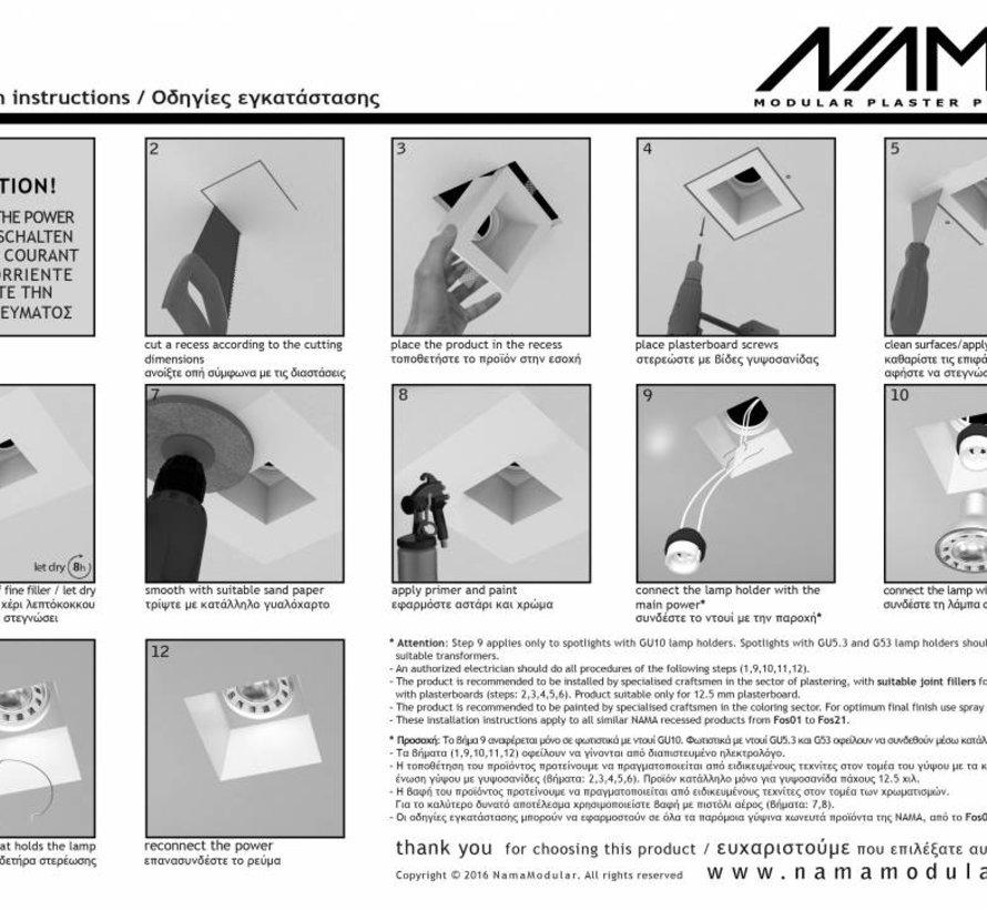 Ray 40 trimless gips led wand inbouw rechthoekig MR11-GU10/G4 - Copy