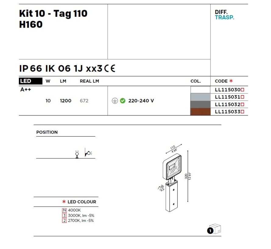 Kit 10 - Tag 110-H160 paal ledarmatuur 10Watt 320mm