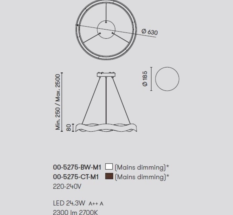 Hello led hanglamp 630mm in wit of bruin