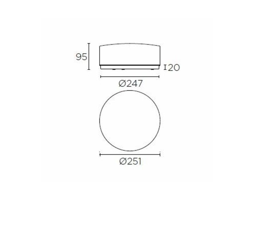 Vetro IP44 plafonniere 24W-3000K opaal/helder Ø251mm