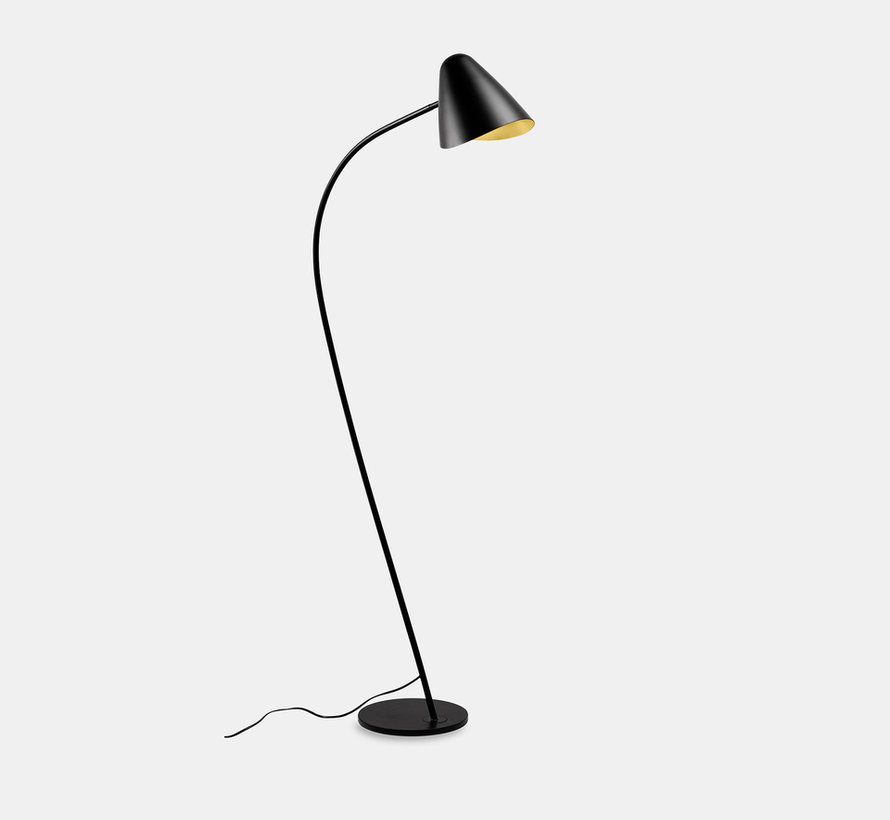Organic vloerlamp zwart-goud E-27