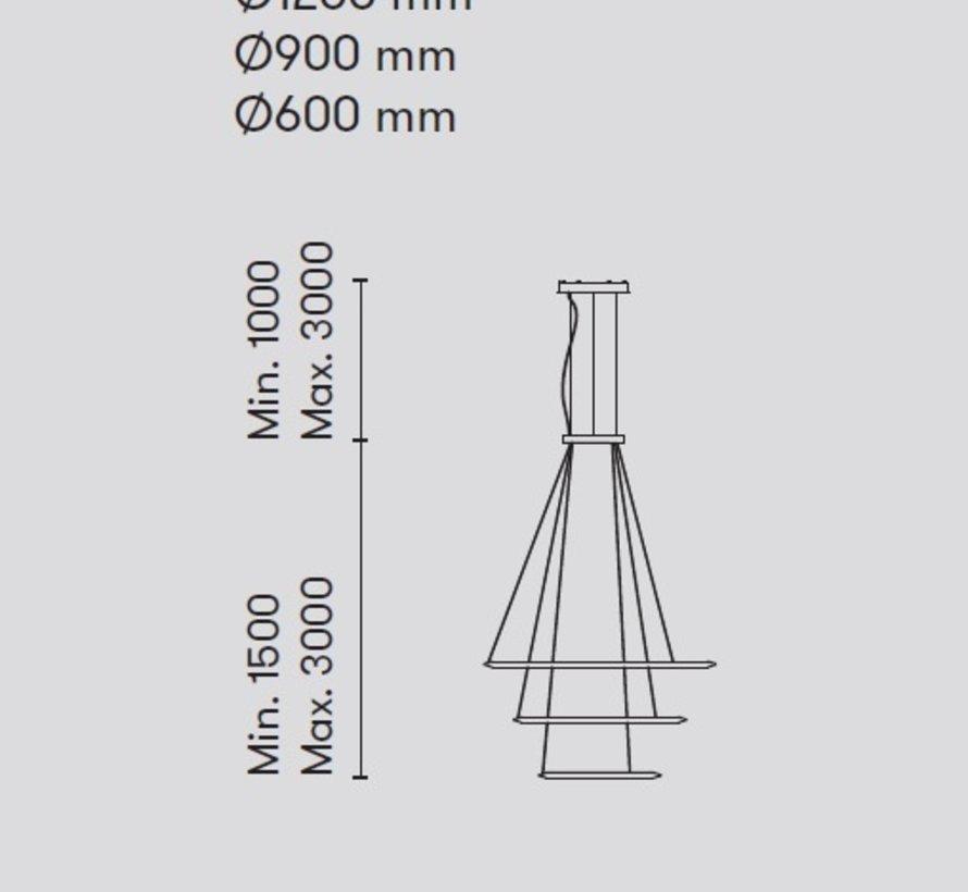 Circular Chandelier 3-ring led hanglamp Ø600-900-1200mm