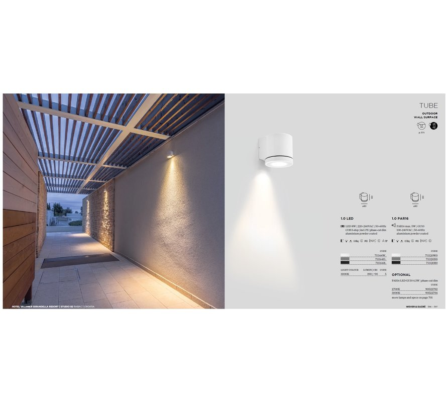 Tube Wall 1.0 PAR16 outdoor wall lamp GU10