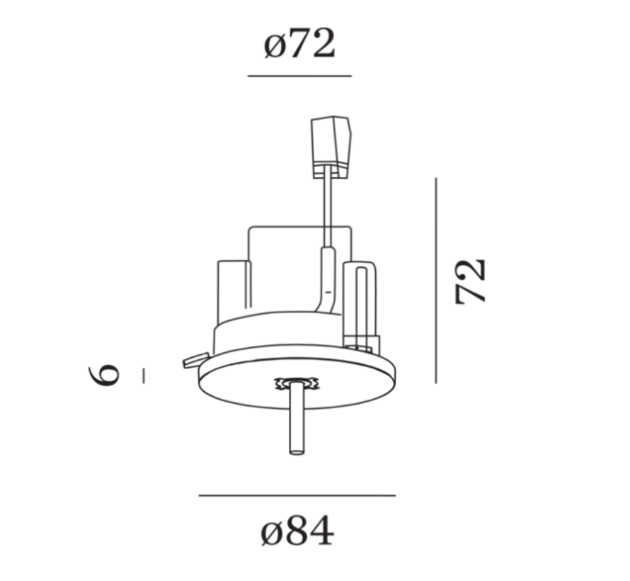 Single ceiling base semi recessed in black or white