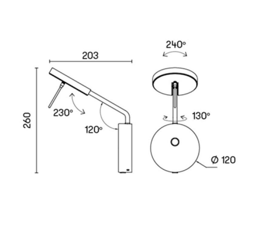 Invisible small Led wandarmatuur 9W-2700/3000K  zwart