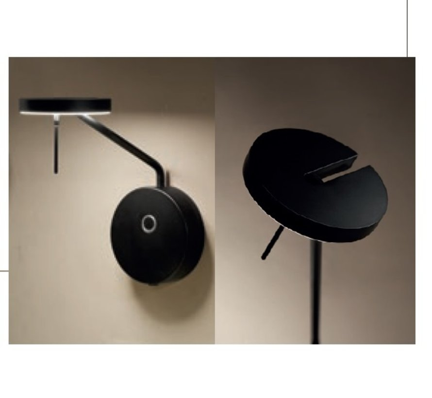 Invisible small wall lamp 9Watt black in 2700 of 3000K