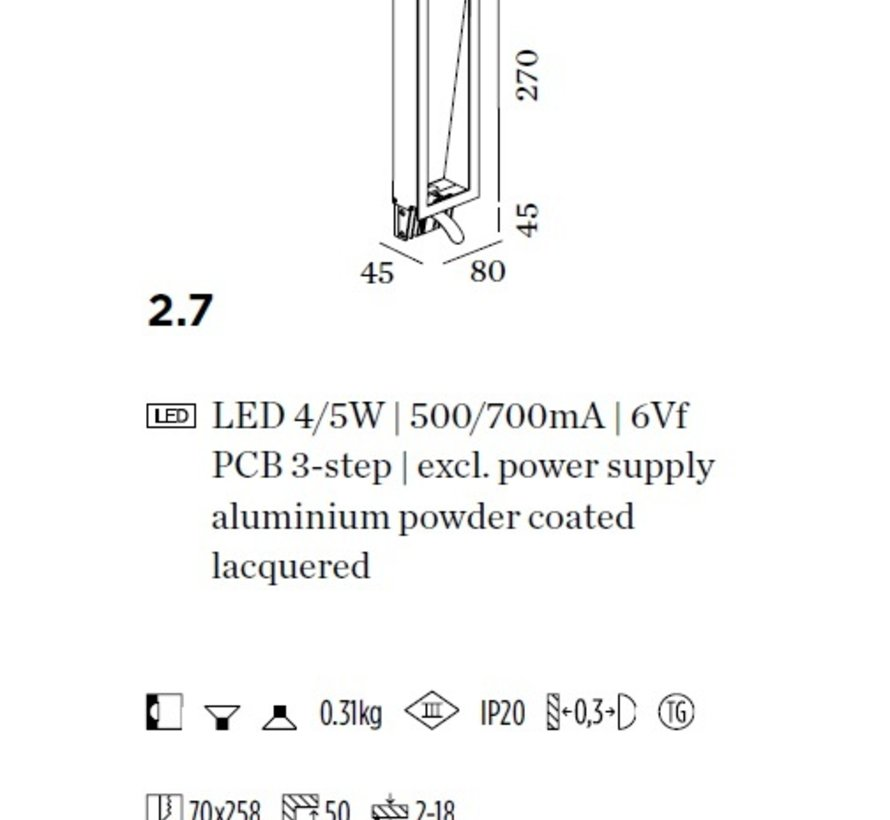 Themis 2.7 led wand inbouw 4-5W 2700-3000K excl driver