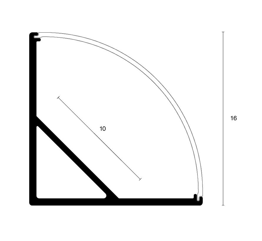 Corner 16mm opbouw hoek ledprofiel 200cm, excl cover