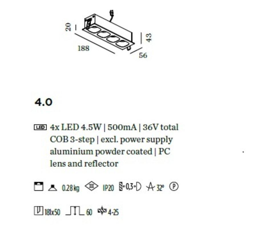 Pirro 4.0 inbouw LED 4x4,5Watt dimbaar excl. driver