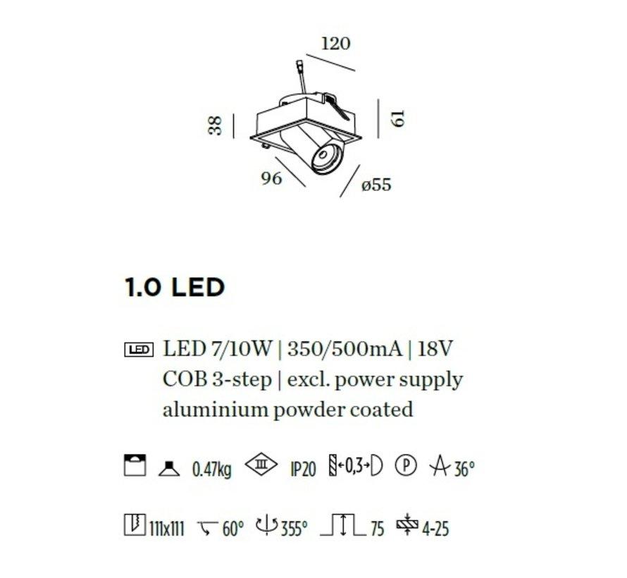 Bliek Square 1.0 LED 7/10Watt - 350/500mA excl driver