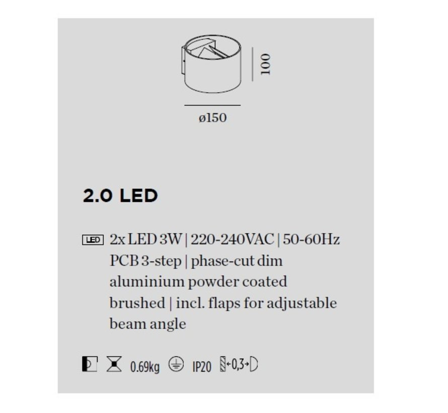 Ray 2.0 Led wall surface up / down 8Watt dimmable