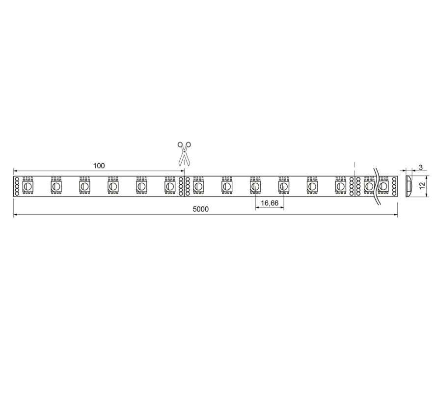 QX Wave IP62 5 mtr 24V-19,2W  RGB+W ledstrip 60 leds/p.mtr