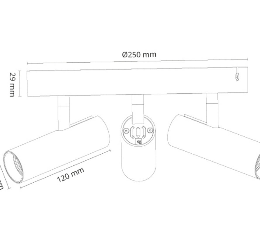 Tube Micro Trio led plafondspot 3 x 6Watt Dim to Warm dimbaar Ø250mm