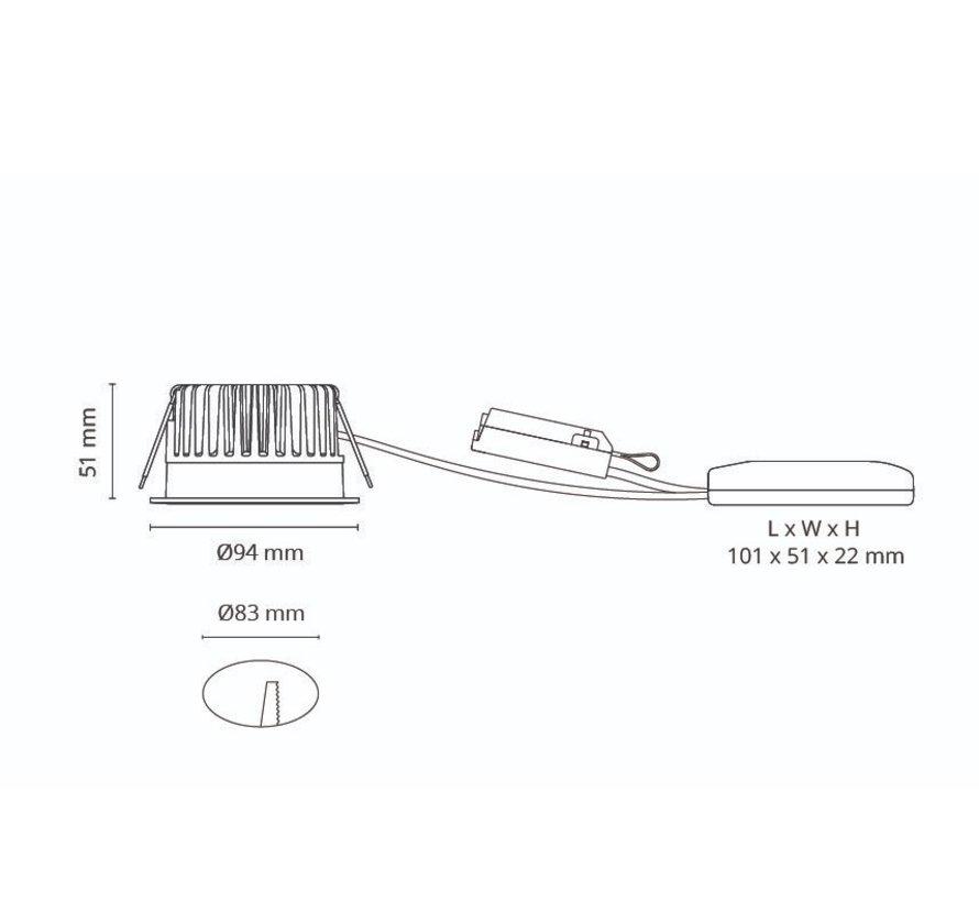 Junistar Soft Dim To Warm recessed ledspot 7Watt -2000/2800K in white or black - Copy