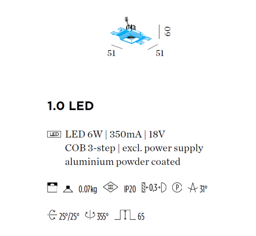 Strange Petit 1.0 LED 6Watt trimless recessed