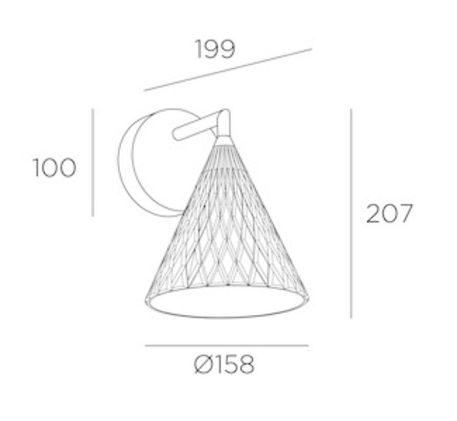 Veneto wandlamp in gepolijst messing 6.7Watt-2700K