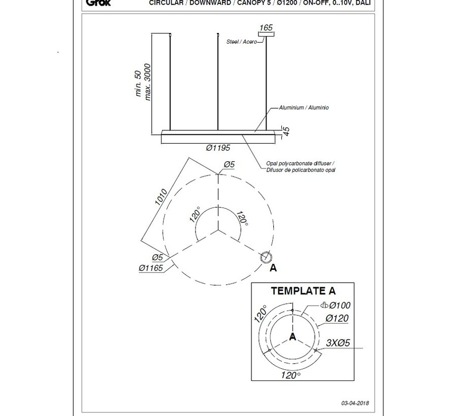 Circular Chandelier Ø1200mm met 63,5Watt downwards lighting