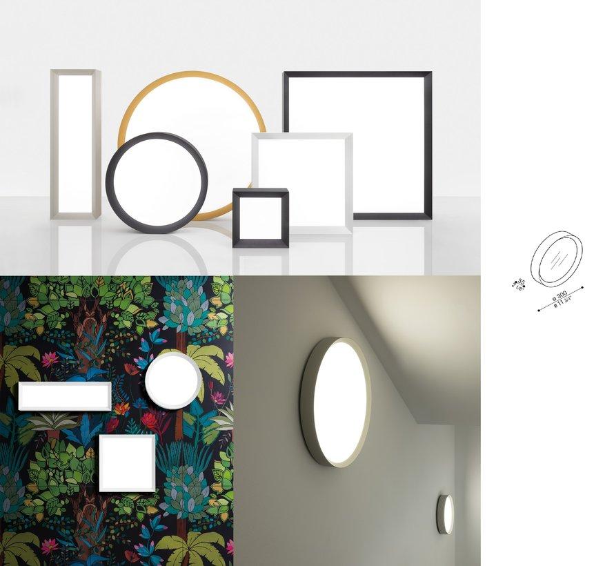 Flo T300 plafond/wand opbouw 30Watt Ø300mm in 4 kleuren