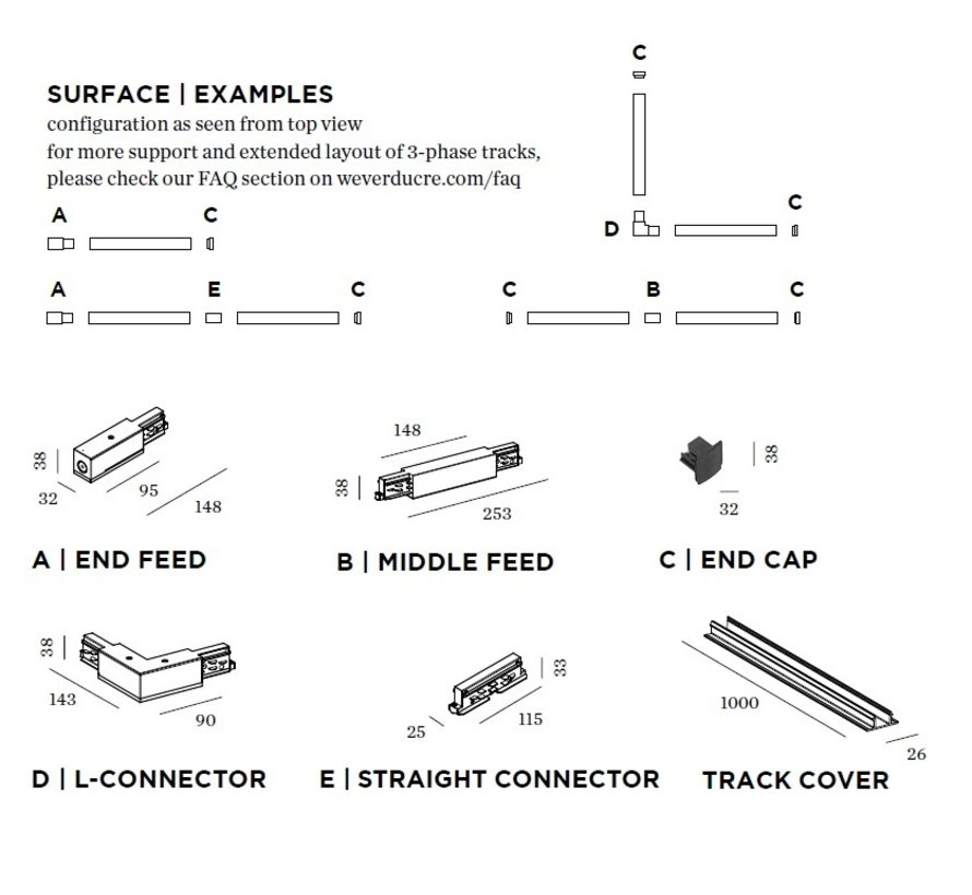 Track 3-fase connector (koppelstuk elektrisch)  in wit of zwart