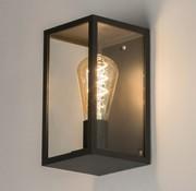 Outdoor wandlamp zwart-glas incl filament ledlamp