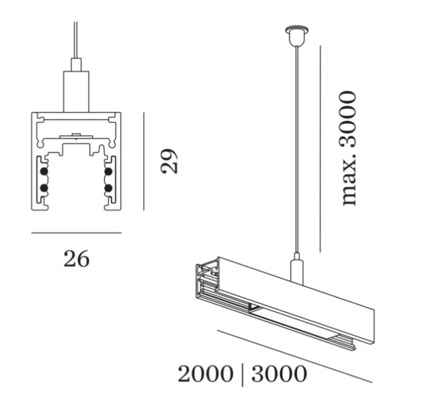 Strex track 48Volt suspended with indirect light in white or black