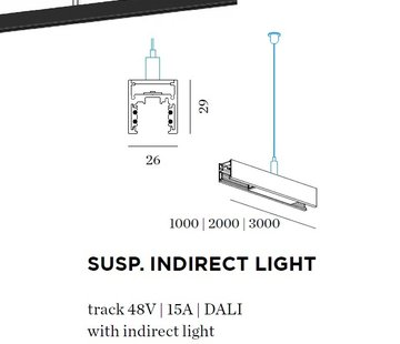 Wever-Ducre Strex track 48Volt suspended met indirect ledlicht