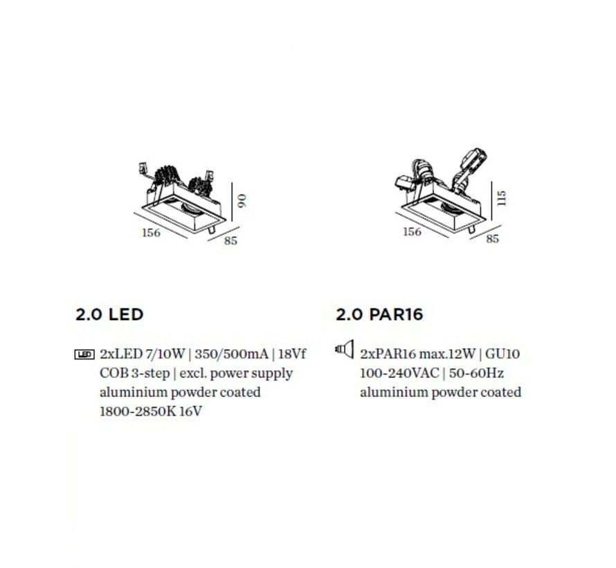 Plano 2.0 PAR16 double orientable recessed spot 230Volt