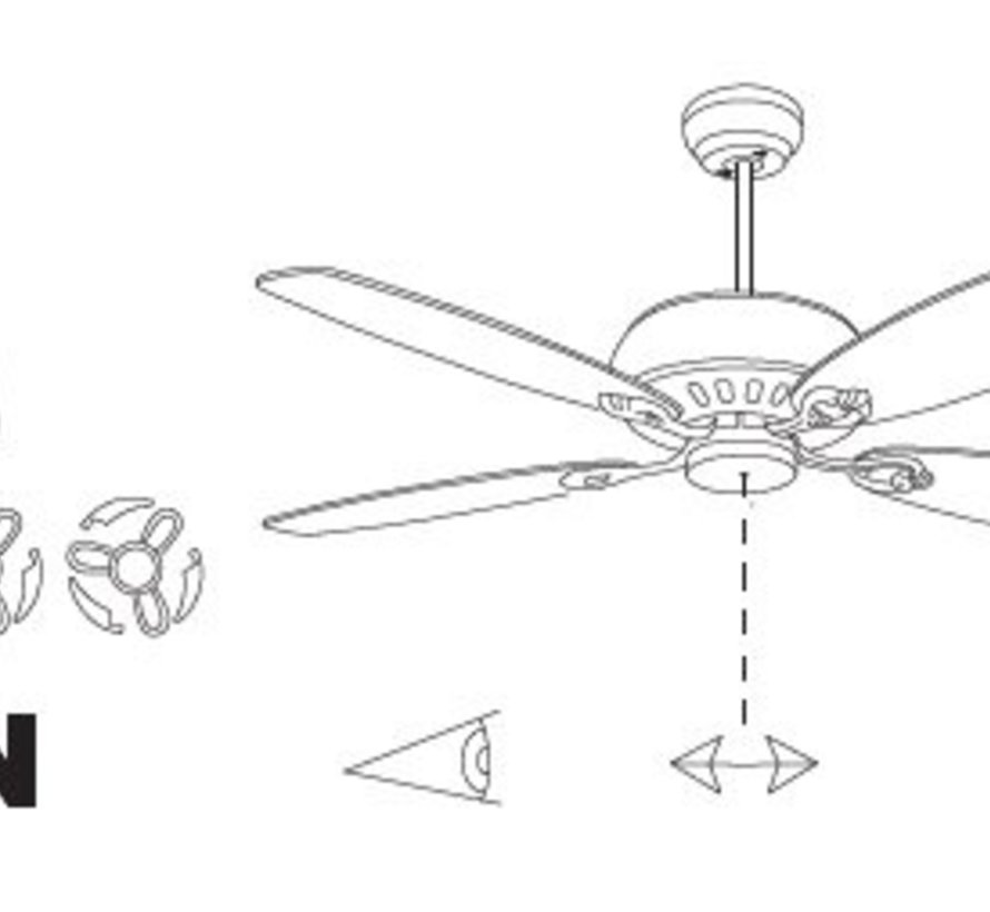 Phuket ceiling fan white with naturel rattan with optional lighting