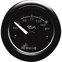 Instrument 25/365 Bar/psi, Zwart Oliedruk Meter 365psi