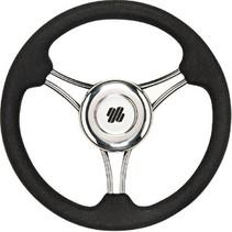 V21b Stuurwiel Rvs 350 Pu Zwart