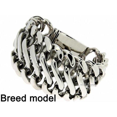 "Bukovsky Stainless Steel Jewelry Extra Brede Stalen Dames Schakelarmband Bukovsky ""Elegance XL "" - Gepolijst - Vanaf € 89,50"