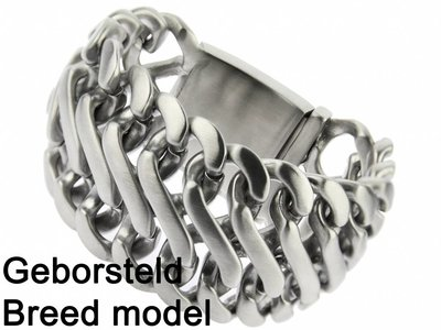 """Bukovsky Stainless Steel Jewelry Extra Brede Stalen Heren Schakelarmband Bukovsky """"Elegance XL """" - Geborsteld - Vanaf € 89,50"""