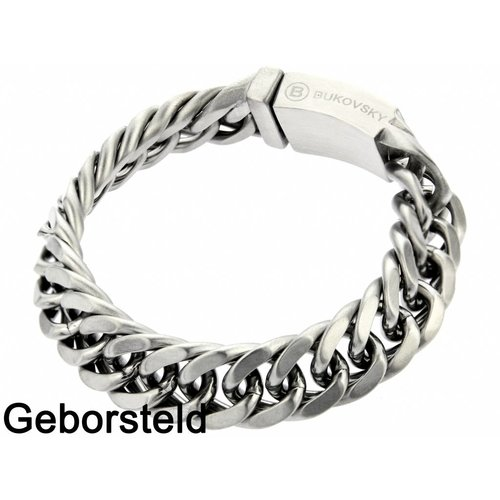 "Bukovsky Stainless Steel Jewelry Stalen Heren Schakelarmband Bukovsky ""Chase Extra Small "" - Geborsteld - Vanaf € 37,50"
