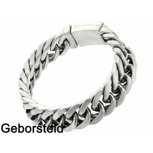 "Bukovsky Stainless Steel Jewelry Stalen Heren Schakelarmband Bukovsky ""Chase Small"" - Geborsteld - Vanaf € 42,50"