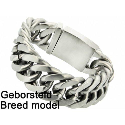 "Bukovsky Stainless Steel Jewelry Stalen Heren Schakelarmband Bukovsky ""Chase XL"" - Geborsteld - Vanaf € 72,50"