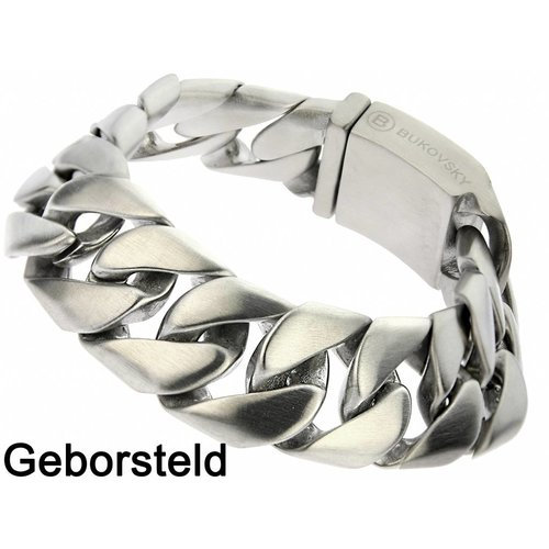 "Bukovsky Stainless Steel Jewelry Stalen Heren Armband Bukovsky ""Force Small"" - Geborsteld - Vanaf € 49,50"