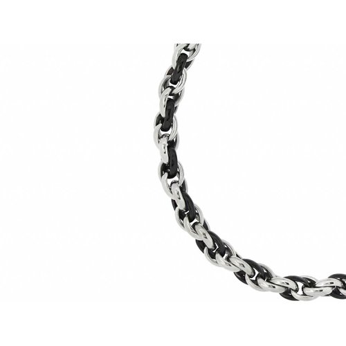 Bukovsky Stainless Steel Jewelry Bukovsky Stalen Heren Ketting SH7300 - Ovaal - Bi-color - Lengte: 55 cm - Breedte: 1,0 cm - Dikte: 1,0 cm