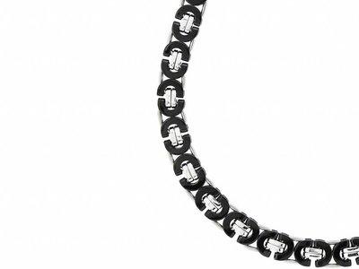 Bukovsky Stainless Steel Jewelry Bukovsky Stalen Heren Ketting SH7390 - Platte Koningsschakel - Bi-color - Lengte: 56 cm - Breedte: 1,1 cm - Dikte: 0,4 cm