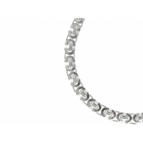 Bukovsky Stainless Steel Jewelry Bukovsky Stalen Heren Ketting SH7470 - Platte Koningsschakel - XL - Lengte: 48 cm - Breedte: 1,0 cm - Dikte: 0,4 cm