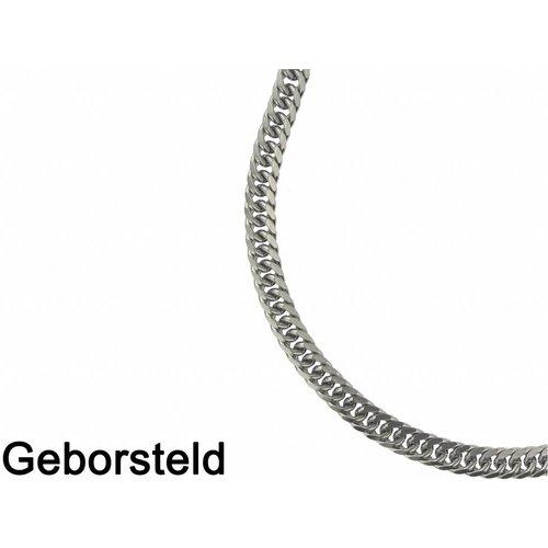 Bukovsky Stainless Steel Jewelry Bukovsky Stalen Heren Ketting SH9130 - Gourmette - Brushed - Lengte : 55 cm - Breedte : 0,7 cm - Dikte : 0,3 cm
