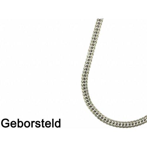 Bukovsky Stainless Steel Jewelry Bukovsky Stalen Heren Ketting SH9535 - Gourmette - Brushed - Lengte: 60 cm - Breedte: 0,9 cm - Dikte: 0,4 cm