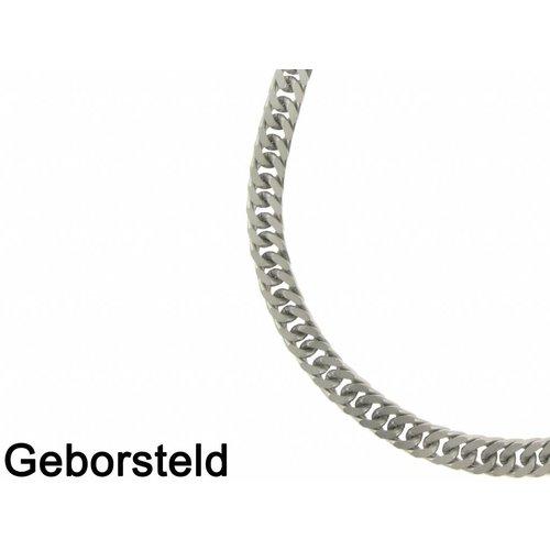 Bukovsky Stainless Steel Jewelry Bukovsky Stalen Heren Ketting SH9230 - Gourmette - Brushed - Lengte: 61 cm - Breedte: 0,8 cm - Dikte: 0,4 cm