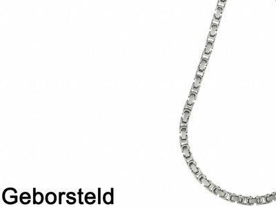 Bukovsky Stainless Steel Jewelry Bukovsky Stalen Heren Ketting SH7440 Large - Geborsteld - Konings - Breedte: 0,7 cm - Dikte: 0,7 cm - 4 Lengtematen