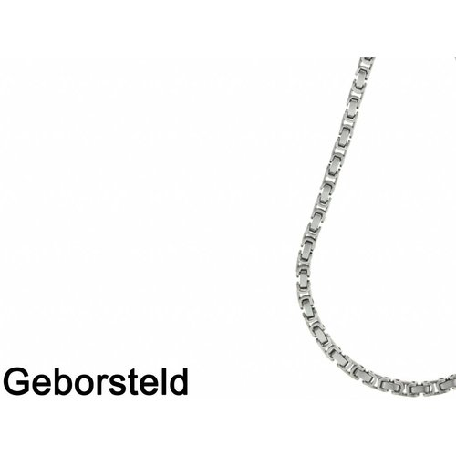 Bukovsky Stainless Steel Jewelry Bukovsky Stalen Heren Ketting SH7440 Large - Geborsteld - Konings - Lengte: 55 cm - Breedte: 0,7 cm - Dikte: 0,7 cm