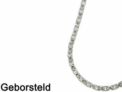 Bukovsky Stainless Steel Jewelry Bukovsky Stalen Heren Ketting SH7470 - Platte Konings - Large - Mat - Breedte: 0,8 cm - Dikte: 0,4 cm - 4 Lengtematen vanaf € 39,50