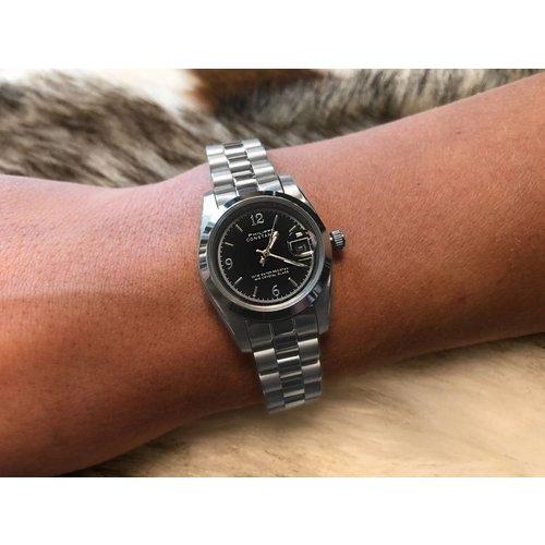 Stalen Philippe Constance Horloge Philippe Constance Stalen Dameshorloge - 6130 Small - Zilver - Zwart - Schakelband - Datumaanduiding