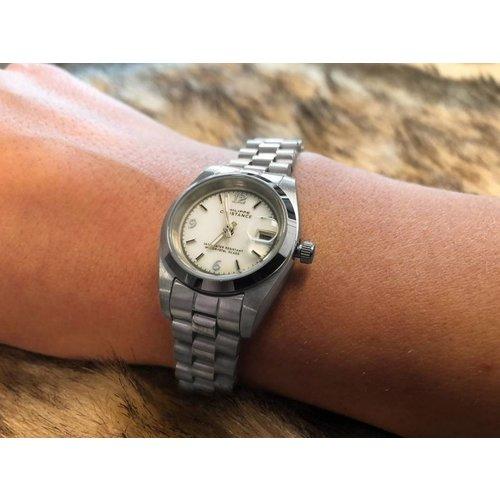 Stalen Philippe Constance Horloge Philippe Constance Stalen Dameshorloge - 6880 Small - Zilver - Wit - Parelmoer - Schakelband - Datumaanduiding