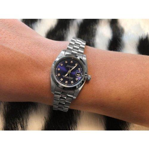 Stalen Philippe Constance Horloge Philippe Constance Stalen Dameshorloge - 6410 Small - Zilver - Indigo - Strass - Schakelband - Datumaanduiding