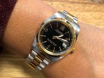 Stalen Philippe Constance Horloge Philippe Constance Stalen Dameshorloge - 7110 Medium  - Bicolor - Goud - Zilver - Zwart - Schakelband - Datumaanduiding